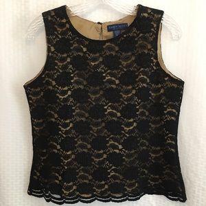 Karen Scott Petites Sleeveless Top Black Lace